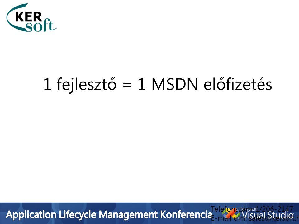 1 fejlesztő = 1 MSDN előfizetés Telefonszám: 1/206-2147 E-mail cím: sales@kersoft.hu