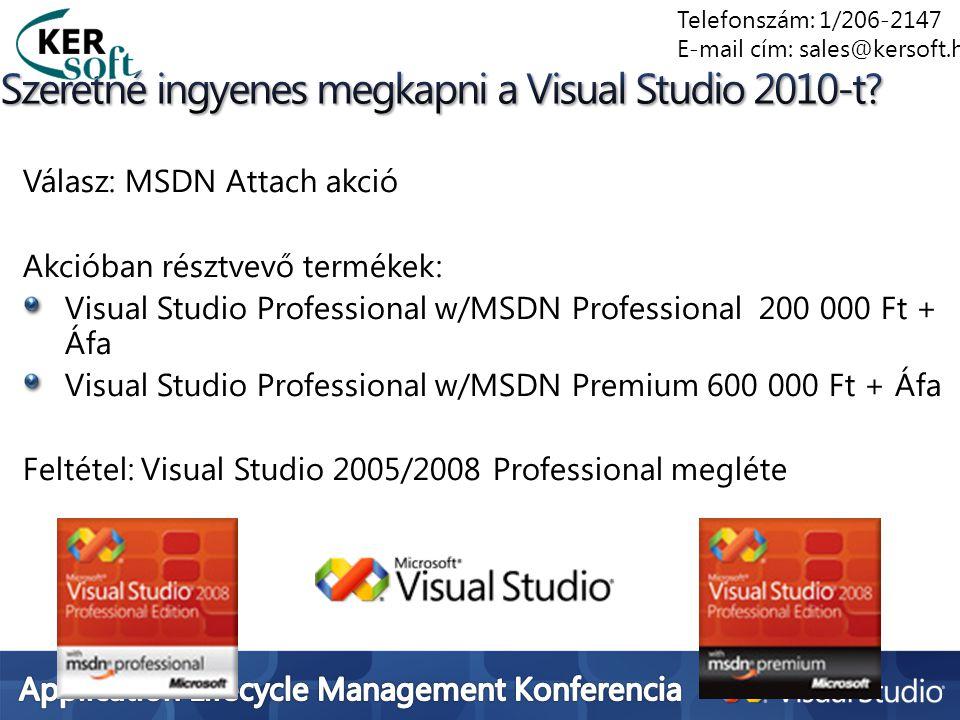 Válasz: MSDN Attach akció Akcióban résztvevő termékek: Visual Studio Professional w/MSDN Professional 200 000 Ft + Áfa Visual Studio Professional w/MS