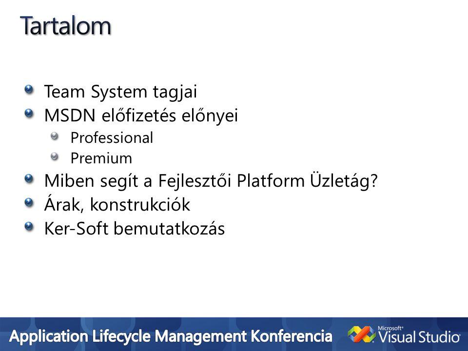 Visual Studio Professional Önmagában 170e HUF Vehető MSDN Professional előfizetéssel 370e HUF Vehető MSDN Premium előfizetéssel 800e HUF USER CAL 126e-175e(SA) HUF Visual Studio Team Edition-ök MSDN Premium előfizetéssel (ekkor ajándék 5 felhasználós Team Foundation Server jár mellé) ~2M HUF Team Suite w MSDN Premium ~4M HUF SourceSafe Önmagában, MSDN-ben ingyenes Team Foundation Server + SA Önmagában 1.1M HUF Vagy Team Edition VS + MSDN Premium esetén ingyen 5 felhasználóig