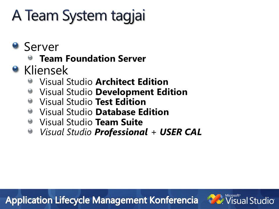 5 fejlesztő, verziókezelés, bugtracking 1 Team Foudation Server, 5 Visual Studio Pro+User CAL =~ 2.6M HUF 5 fejlesztő, advanced funkcionalitás 1 Team Foundation Server, 1 Test Edition w MSDN premium, 4 Visual Studio Pro w MSDN Pro+ User CAL =~5.2M 10 fejlesztő teljes funkcionalitás 1 Team Foundation Server, 1 Team Suite w MSDN Premium, 1 Test Edition w MSDN premium, 8 Developement Edition w MSDN premium, 1 Test Agent =~ 23M