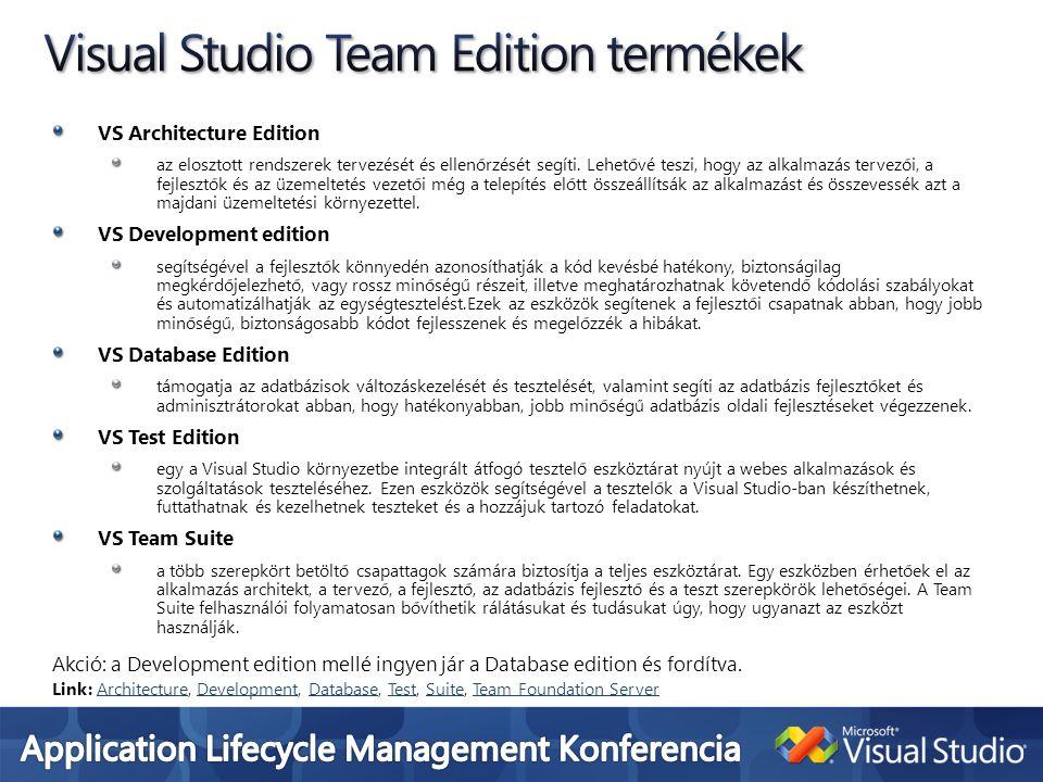 VS Architecture Edition az elosztott rendszerek tervezését és ellenőrzését segíti. Lehetővé teszi, hogy az alkalmazás tervezői, a fejlesztők és az üze