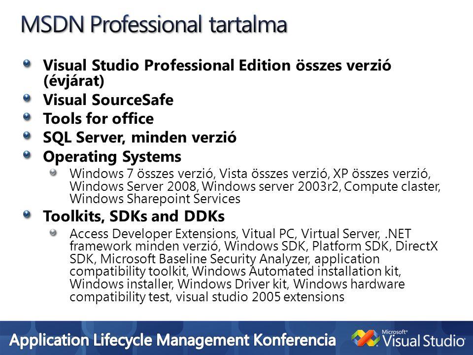 Visual Studio Professional Edition összes verzió (évjárat) Visual SourceSafe Tools for office SQL Server, minden verzió Operating Systems Windows 7 ös