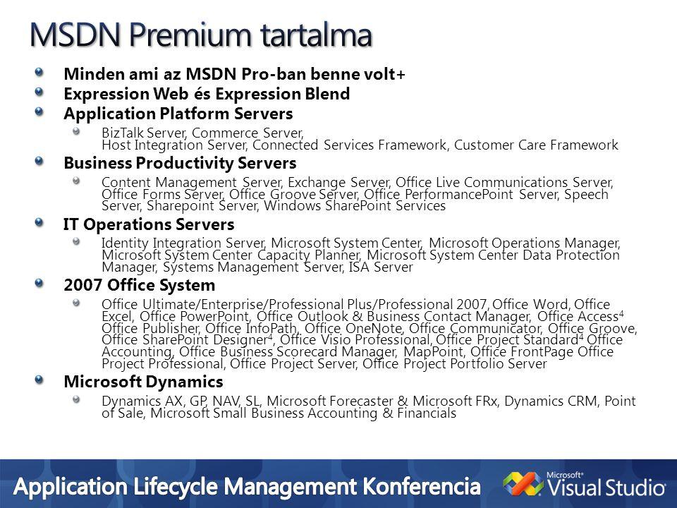 Minden ami az MSDN Pro-ban benne volt+ Expression Web és Expression Blend Application Platform Servers BizTalk Server, Commerce Server, Host Integrati