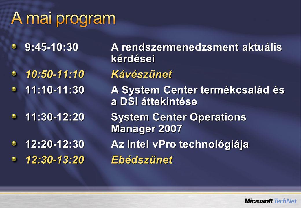 9:45-10:30A rendszermenedzsment aktuális kérdései 10:50-11:10Kávészünet 11:10-11:30A System Center termékcsalád és a DSI áttekintése 11:30-12:20System Center Operations Manager 2007 12:20-12:30Az Intel vPro technológiája 12:30-13:20Ebédszünet