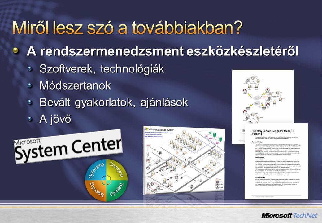 A rendszermenedzsment eszközkészletéről Szoftverek, technológiák Módszertanok Bevált gyakorlatok, ajánlások A jövő