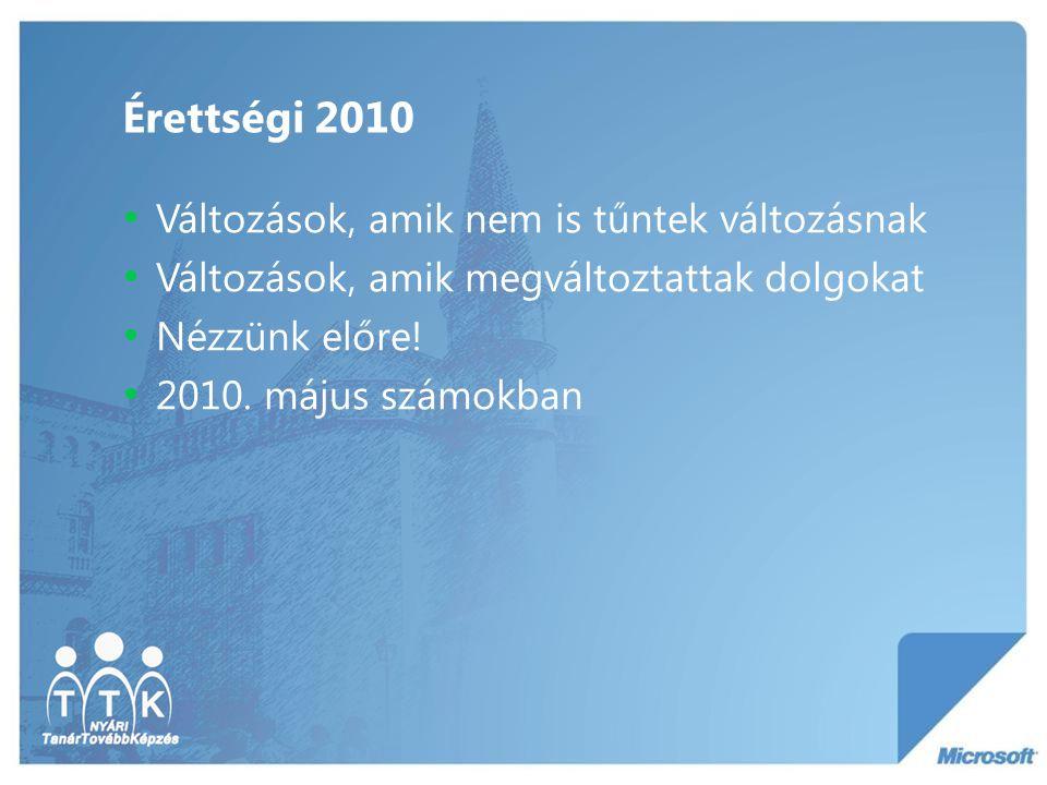 Érettségi 2010 Változások, amik nem is tűntek változásnak Változások, amik megváltoztattak dolgokat Nézzünk előre! 2010. május számokban
