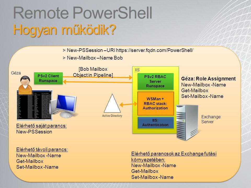 Hogyan működik? Remote PowerShell Hogyan működik? IIS WSMan + RBAC stack: Authorization PSv2 RBAC Server Runspace > New-Mailbox –Name Bob PSv2 Client