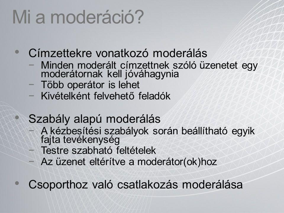 Mi a moderáció? Címzettekre vonatkozó moderálás −Minden moderált címzettnek szóló üzenetet egy moderátornak kell jóváhagynia −Több operátor is lehet −