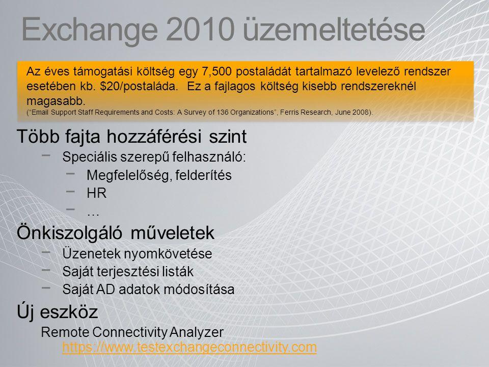 Exchange 2010 üzemeltetése Több fajta hozzáférési szint − Speciális szerepű felhasználó: − Megfelelőség, felderítés − HR − … Önkiszolgáló műveletek −