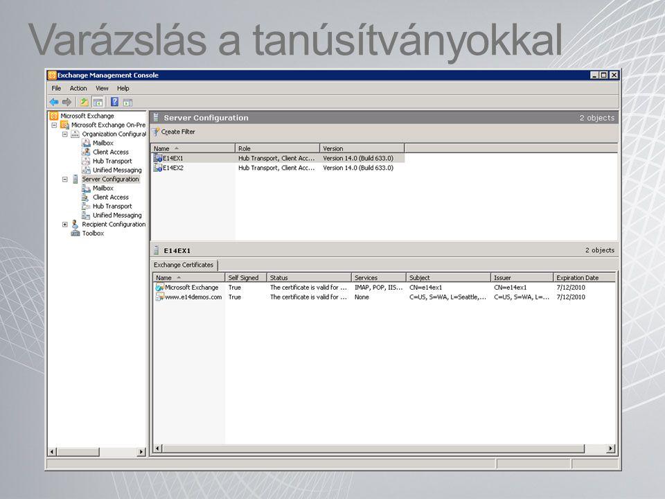 """Elemek törlésének és helyreállíthatóságának architektúrája Exchange 2003/2007Exchange 2010 Postaláda Dumpster 1.0 Helyreállítható elemek (1) Üzenet kézbesítése Törölt üzenetek Beérkezett üzenetek … … (2) Üzenetet törli a felhasználó (3) Üzenet bekerül a """"Dumpster - be (5) Üzenet kikerül az adatbázisból 30 nap után Postaláda Dumpster 2.0 Felhasználó által helyreállítható elemek (1)Üzenet kézbesítése Törölt üzenetek Beérkezett üzenetek … … (2) Üzenetet törli a felhasználó (3) Üzenet bekerüla Dumpster 2.0-ba (4) Üzenet a felhasználó elől nem látható módon átkerül a rendszergazda által kezelhető """"Törlések tárolóba Verziók Törlések Tartás 30 napig (4) Üzenet kikerül az adatbázisból"""