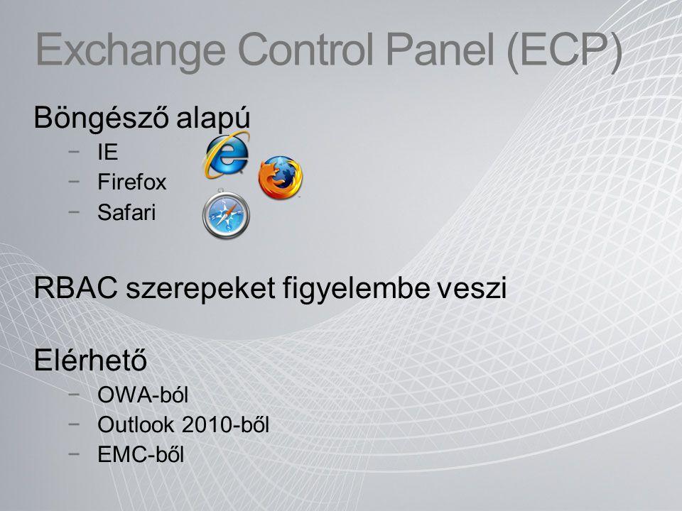 """Rendszergazda felületek Exchange Management Console (EMC) Elsődlegesen a házon belüli rendszergazdák részére Telepítést igényel Exchange Control Panel (ECP) Elsődlegesen Kisegítő operátoroknak Speciális szerepekhez (helpdesk, felderítés, etc) Felhasználóknak (nyomkövetés, listák, OWA beállítások, stb.) Böngészővel Exchange Managment Shell (PowerShell) Profi rendszergazdáknak és profi specialistáknakProfi rendszergazdáknak és profi specialistáknak Telepítést nem igényel, """"tűzfalbarát Telepítést nem igényel, """"tűzfalbarát RBAC jogosultságokRBAC jogosultságok Automatizálható feladatokraAutomatizálható feladatokra Exchange Managment Shell (PowerShell) Profi rendszergazdáknak és profi specialistáknakProfi rendszergazdáknak és profi specialistáknak Telepítést nem igényel, """"tűzfalbarát Telepítést nem igényel, """"tűzfalbarát RBAC jogosultságokRBAC jogosultságok Automatizálható feladatokraAutomatizálható feladatokra"""