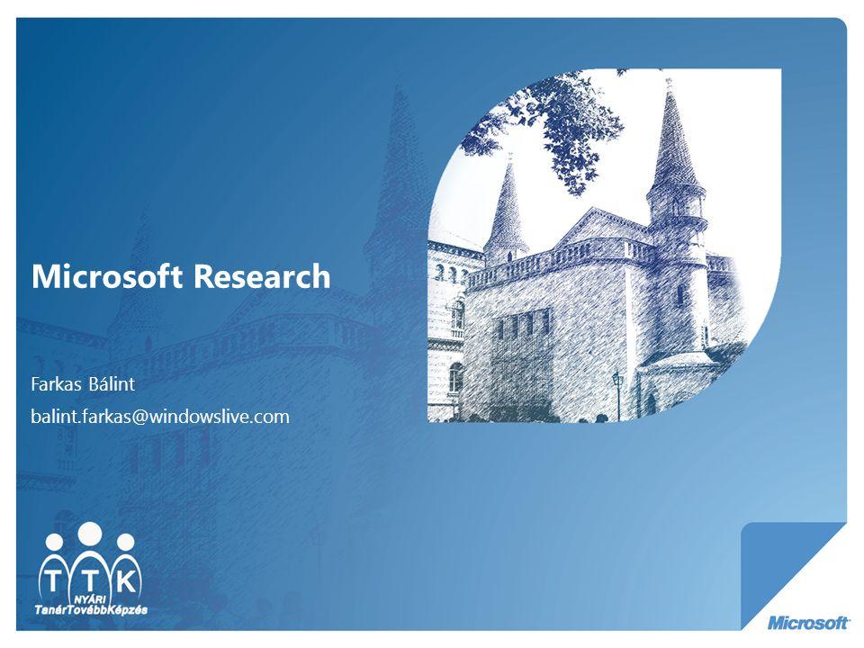 Microsoft Research Farkas Bálint balint.farkas@windowslive.com
