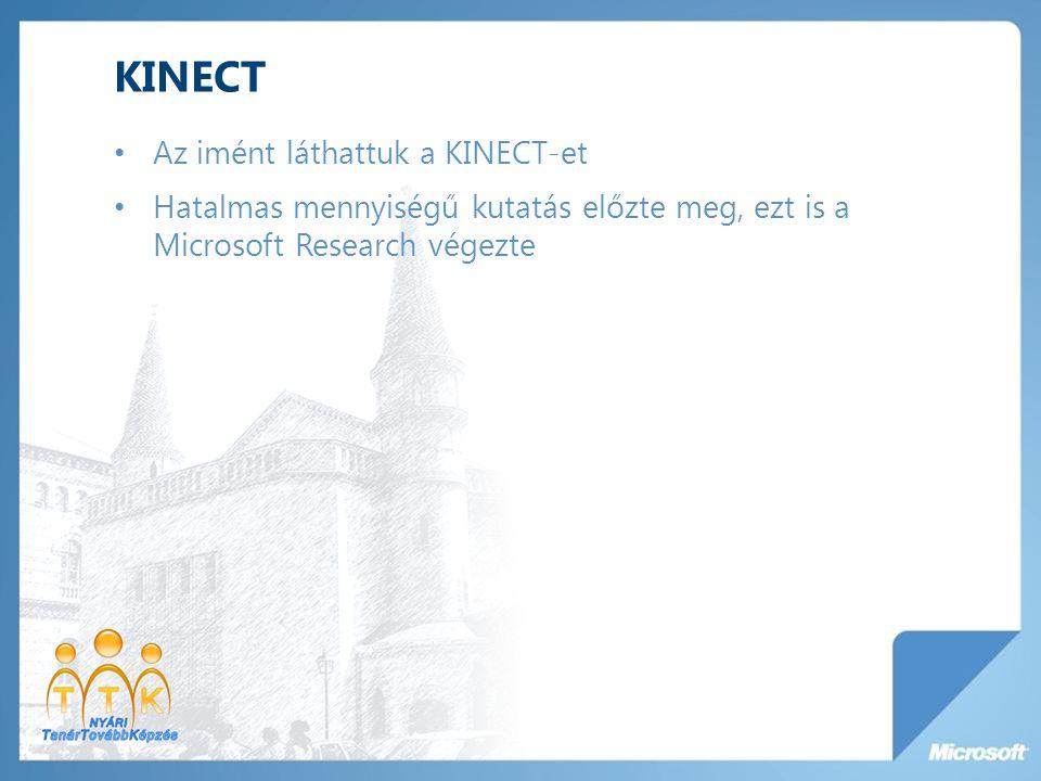 KINECT Az imént láthattuk a KINECT-et Hatalmas mennyiségű kutatás előzte meg, ezt is a Microsoft Research végezte