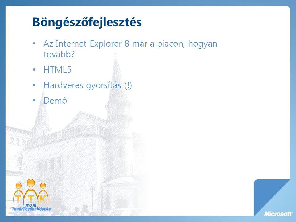 Böngészőfejlesztés Az Internet Explorer 8 már a piacon, hogyan tovább? HTML5 Hardveres gyorsítás (!) Demó