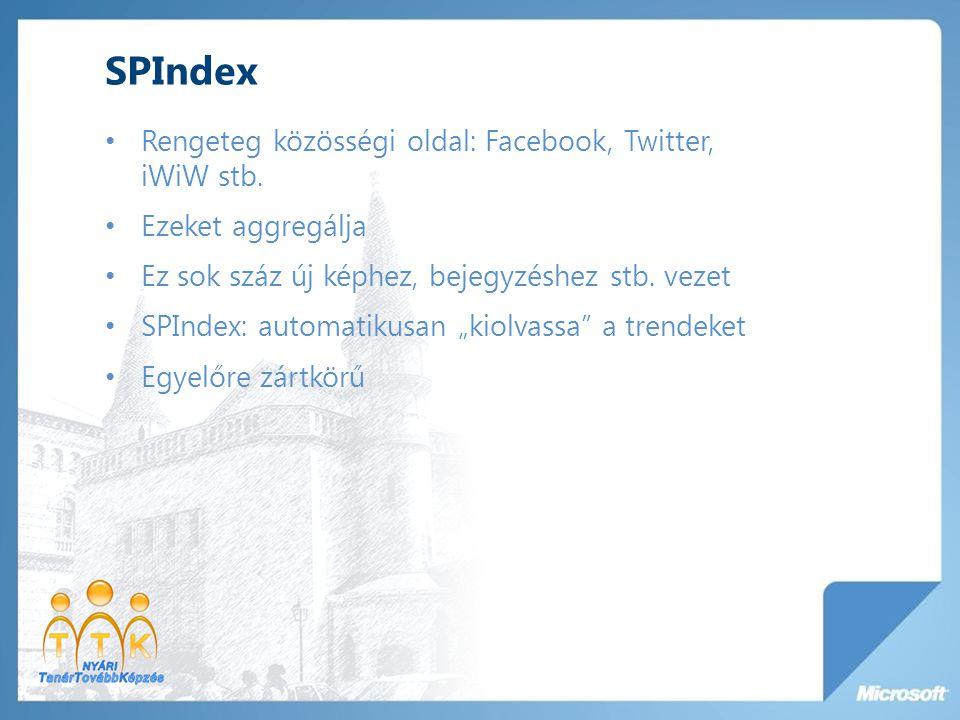 SPIndex Rengeteg közösségi oldal: Facebook, Twitter, iWiW stb. Ezeket aggregálja Ez sok száz új képhez, bejegyzéshez stb. vezet SPIndex: automatikusan