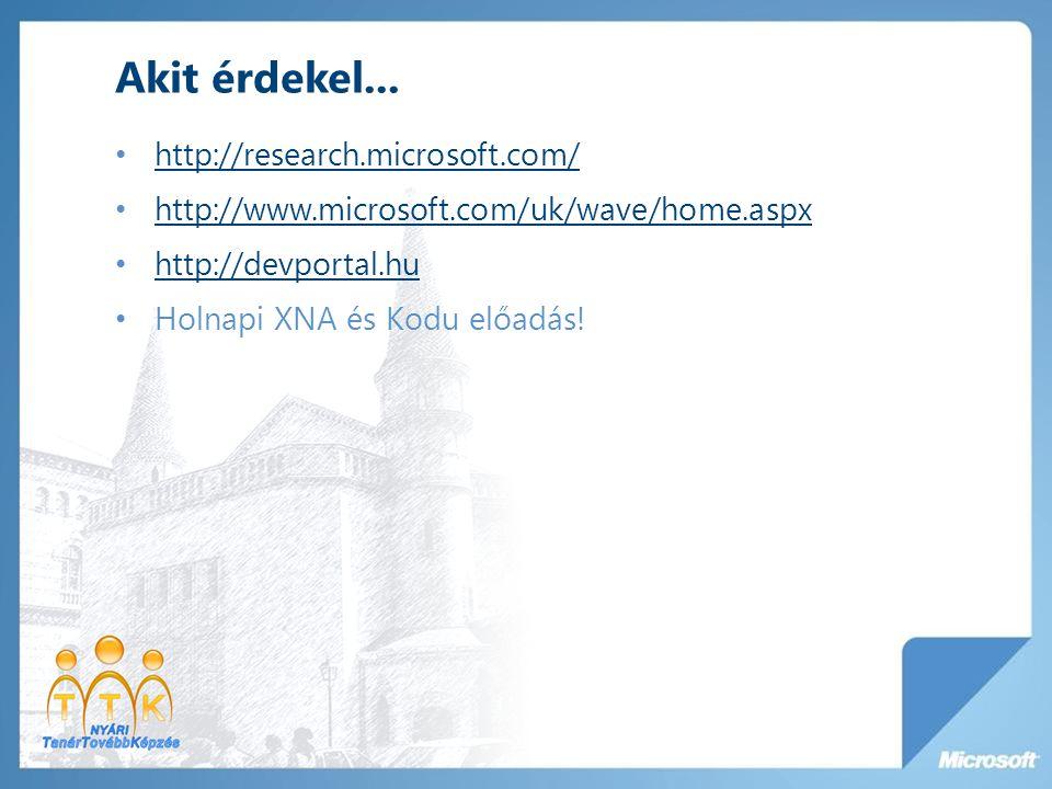 Akit érdekel... http://research.microsoft.com/ http://www.microsoft.com/uk/wave/home.aspx http://devportal.hu Holnapi XNA és Kodu előadás!