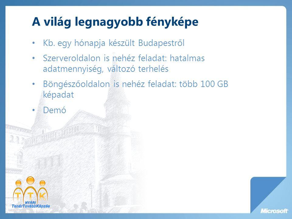 A világ legnagyobb fényképe Kb. egy hónapja készült Budapestről Szerveroldalon is nehéz feladat: hatalmas adatmennyiség, változó terhelés Böngészőolda
