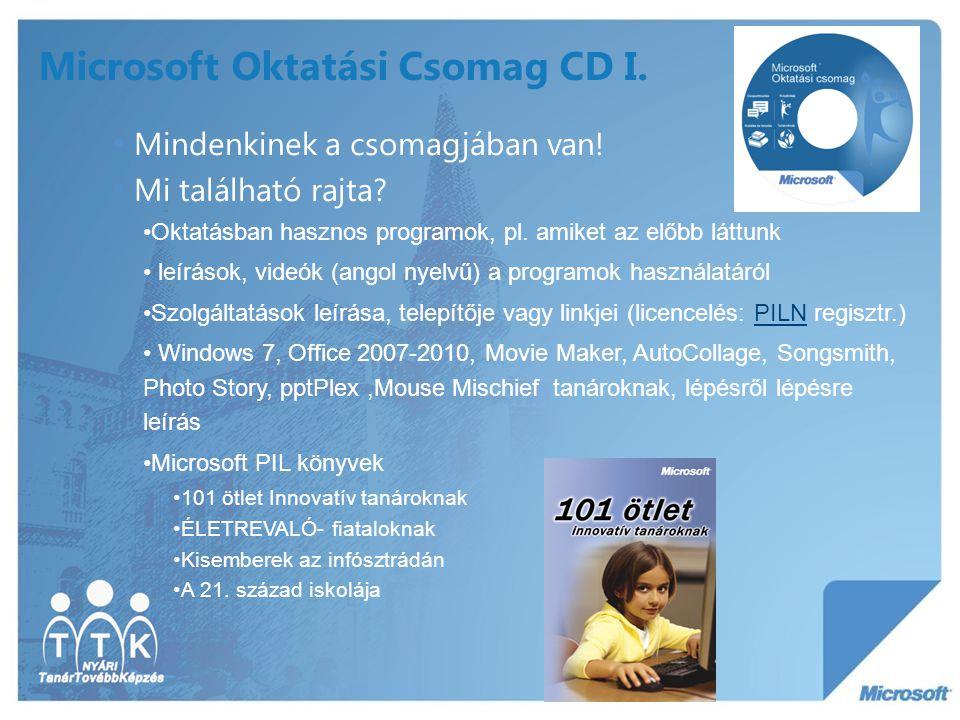 Microsoft Oktatási Csomag CD I. Mindenkinek a csomagjában van! Mi található rajta? Oktatásban hasznos programok, pl. amiket az előbb láttunk leírások,