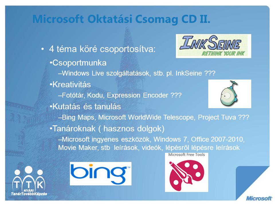 Microsoft Oktatási Csomag CD II. 4 téma köré csoportosítva: Csoportmunka –Windows Live szolgáltatások, stb. pl. InkSeine ??? Kreativitás –Fotótár, Kod