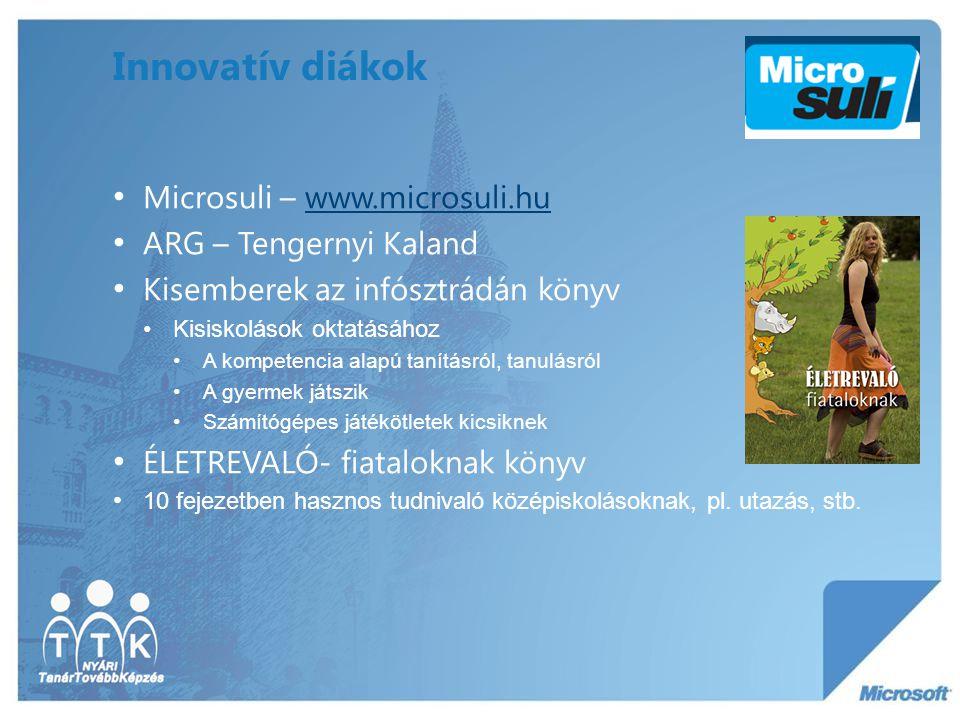 Innovatív diákok Microsuli – www.microsuli.huwww.microsuli.hu ARG – Tengernyi Kaland Kisemberek az infósztrádán könyv Kisiskolások oktatásához A kompe