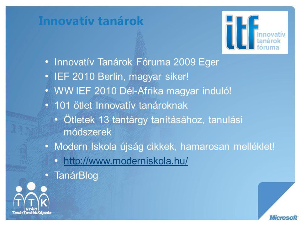Innovatív tanárok Innovatív Tanárok Fóruma 2009 Eger IEF 2010 Berlin, magyar siker! WW IEF 2010 Dél-Afrika magyar induló! 101 ötlet Innovatív tanárokn