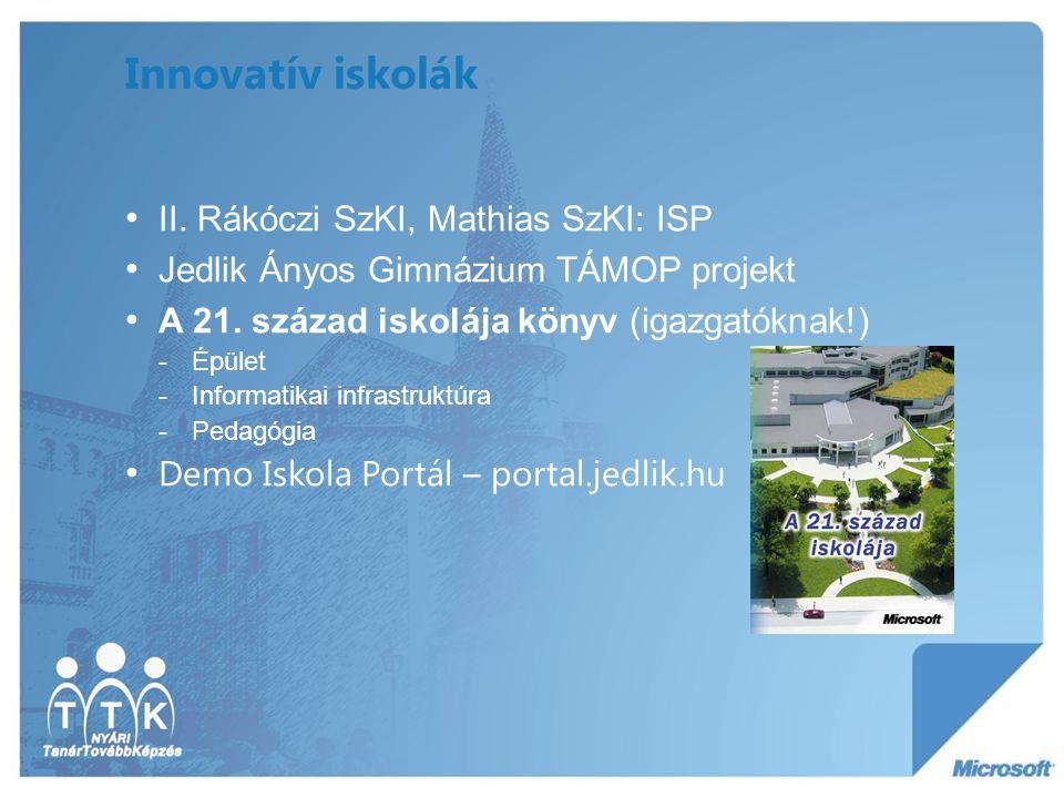 Innovatív iskolák II. Rákóczi SzKI, Mathias SzKI: ISP Jedlik Ányos Gimnázium TÁMOP projekt A 21. század iskolája könyv (igazgatóknak!) -Épület -Inform