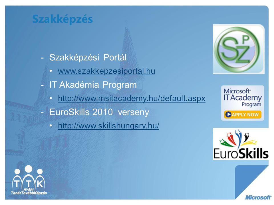 Szakképzés -Szakképzési Portál www.szakkepzesiportal.hu -IT Akadémia Program http://www.msitacademy.hu/default.aspx -EuroSkills 2010 verseny http://ww