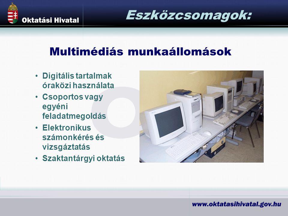 Digitális tartalmak óraközi használata Csoportos vagy egyéni feladatmegoldás Elektronikus számonkérés és vizsgáztatás Szaktantárgyi oktatás Eszközcsomagok: Multimédiás munkaállomások