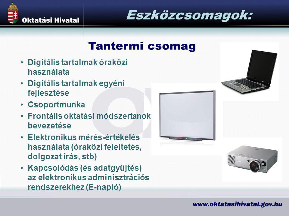 Eszközcsomagok: Tantermi csomag Digitális tartalmak óraközi használata Digitális tartalmak egyéni fejlesztése Csoportmunka Frontális oktatási módszertanok bevezetése Elektronikus mérés-értékelés használata (óraközi feleltetés, dolgozat írás, stb) Kapcsolódás (és adatgyűjtés) az elektronikus adminisztrációs rendszerekhez (E-napló)
