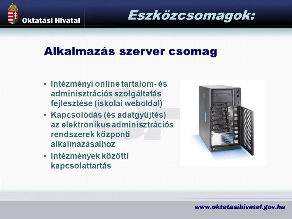 Alkalmazás szerver csomag Eszközcsomagok: Intézményi online tartalom- és adminisztrációs szolgáltatás fejlesztése (iskolai weboldal) Kapcsolódás (és adatgyűjtés) az elektronikus adminisztrációs rendszerek központi alkalmazásaihoz Intézmények közötti kapcsolattartás