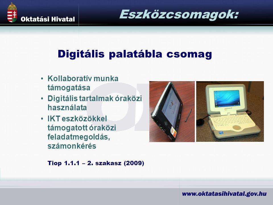 Digitális palatábla csomag Eszközcsomagok: Kollaboratív munka támogatása Digitális tartalmak óraközi használata IKT eszközökkel támogatott óraközi feladatmegoldás, számonkérés Tiop 1.1.1 – 2.