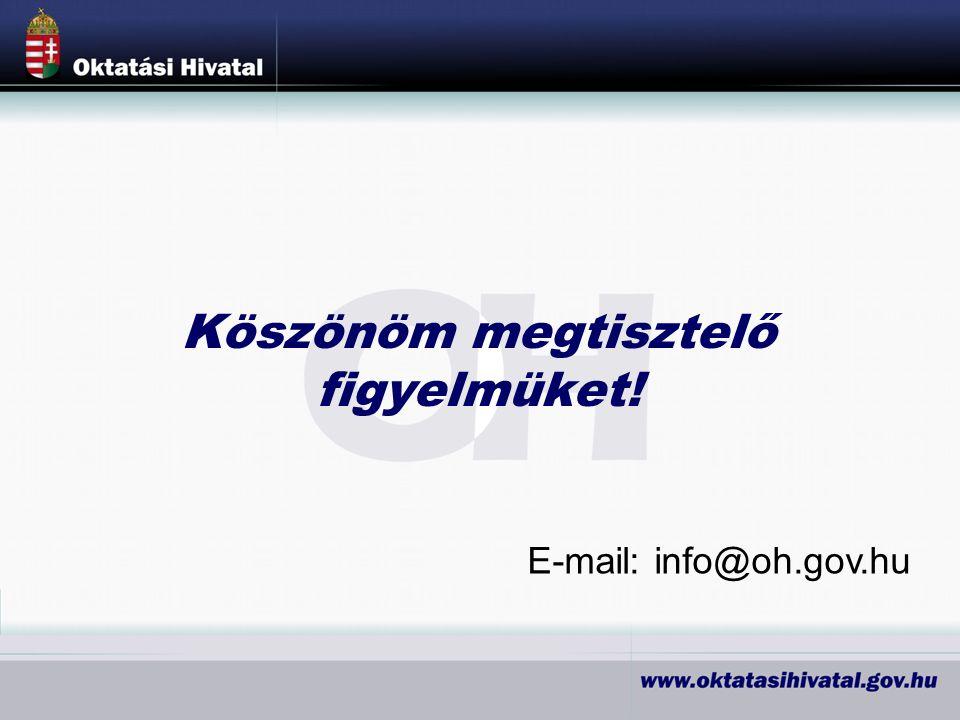Köszönöm megtisztelő figyelmüket! E-mail: info@oh.gov.hu