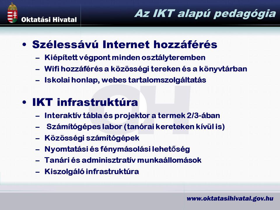 Az IKT alapú pedagógia Szélessávú Internet hozzáférés –Kiépített végpont minden osztályteremben –Wifi hozzáférés a közösségi tereken és a könyvtárban –Iskolai honlap, webes tartalomszolgáltatás IKT infrastruktúra –Interaktív tábla és projektor a termek 2/3-ában – Számítógépes labor (tanórai kereteken kívül is) –Közösségi számítógépek –Nyomtatási és fénymásolási lehet ő ség –Tanári és adminisztratív munkaállomások –Kiszolgáló infrastruktúra