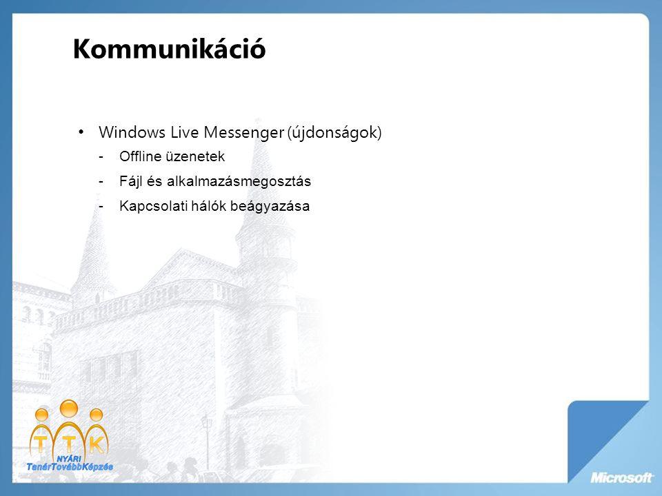 Windows Live Messenger (újdonságok) -Offline üzenetek -Fájl és alkalmazásmegosztás -Kapcsolati hálók beágyazása