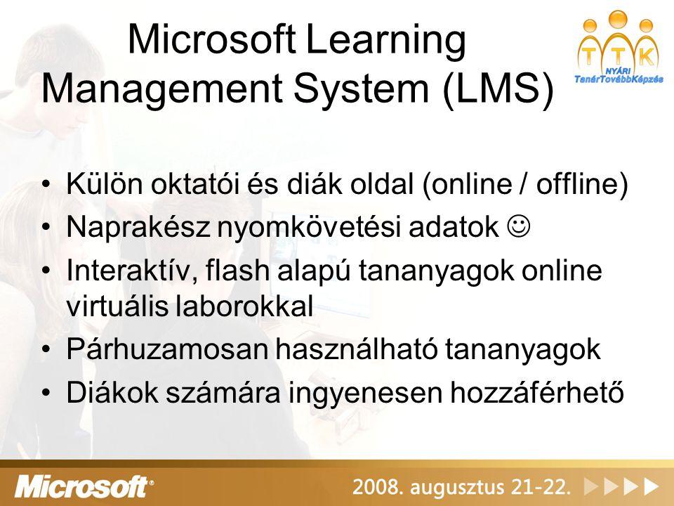 Microsoft Learning Management System (LMS) Külön oktatói és diák oldal (online / offline) Naprakész nyomkövetési adatok Interaktív, flash alapú tananyagok online virtuális laborokkal Párhuzamosan használható tananyagok Diákok számára ingyenesen hozzáférhető