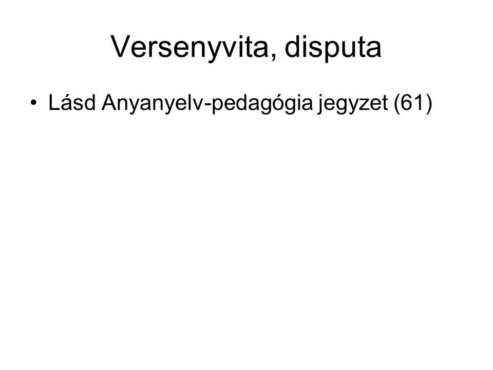 Versenyvita, disputa Lásd Anyanyelv-pedagógia jegyzet (61)