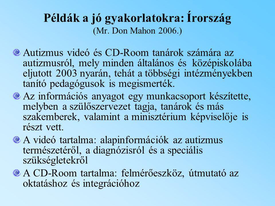Példák a jó gyakorlatokra: Írország (Mr. Don Mahon 2006.) Autizmus videó és CD-Room tanárok számára az autizmusról, mely minden általános és középisko