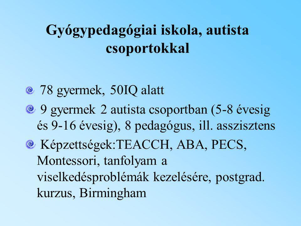 Gyógypedagógiai iskola, autista csoportokkal 78 gyermek, 50IQ alatt 9 gyermek 2 autista csoportban (5-8 évesig és 9-16 évesig), 8 pedagógus, ill. assz