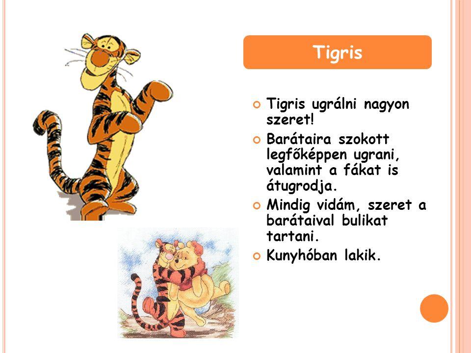 Tigris ugrálni nagyon szeret! Barátaira szokott legfőképpen ugrani, valamint a fákat is átugrodja. Mindig vidám, szeret a barátaival bulikat tartani.