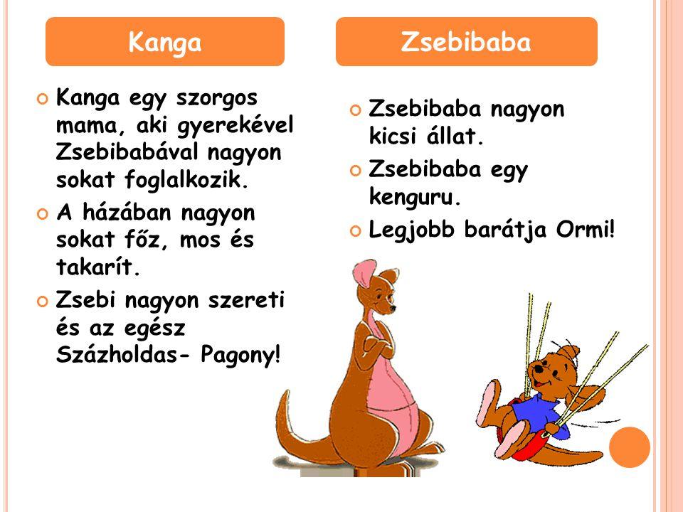 Kanga egy szorgos mama, aki gyerekével Zsebibabával nagyon sokat foglalkozik.