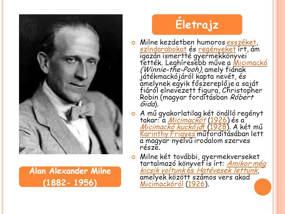 Milne kezdetben humoros esszéket, színdarabokat és regényeket írt, ám igazán ismertté gyermekkönyvei tették. Leghíresebb műve a Micimackó (Winnie-the-