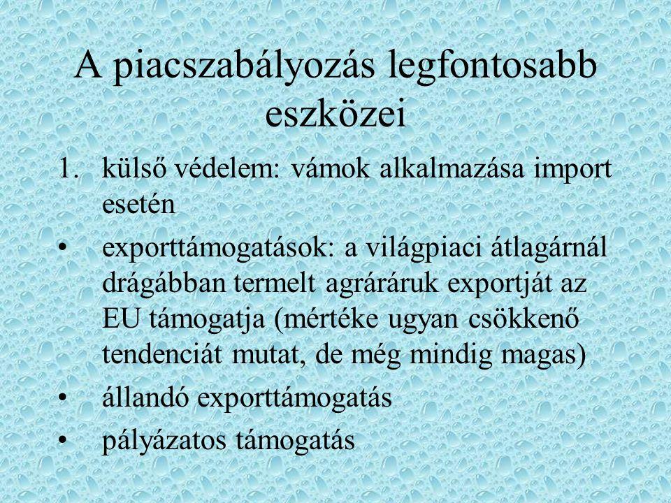 Közös Agrárpolitika sarokpontjai szoros kapcsolat szükséges az agrárstruktúra alakulása és a piacpolitika között fokozni kell a családi gazdaságok teljesítményeit és versenyképességét a termékek szabad forgalma és a versenyfeltételek (mindenekelőtt intézményi árak) egységes szabályozása
