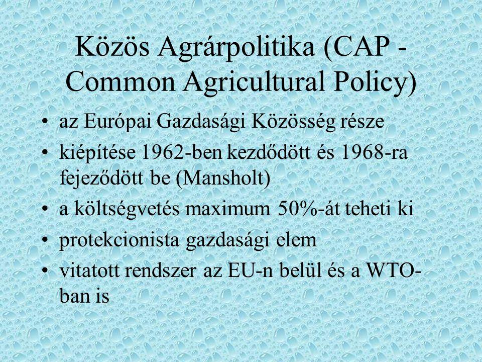 Az EU aktuális kérdései Az EU mezőgazdasági politikája