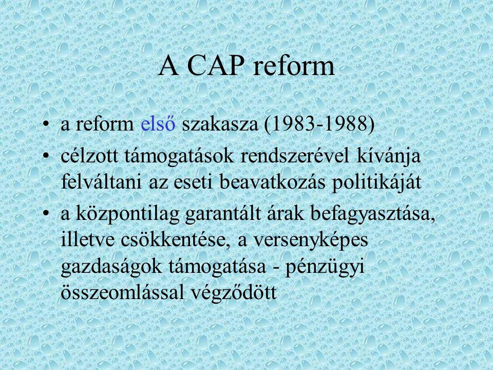 CAP eredményei a világpiacinál jóval magasabb belső árszínvonal következtében a mezőgazdasági termelők jövedelme közeledett más társadalmi csoportok jövedelem szintjéhez gazdag élelmiszerválaszték fejlődött ki, ezzel kizárva a szélsőséges ármozgásokat