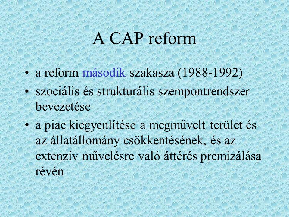 A CAP reform a reform első szakasza (1983-1988) célzott támogatások rendszerével kívánja felváltani az eseti beavatkozás politikáját a központilag garantált árak befagyasztása, illetve csökkentése, a versenyképes gazdaságok támogatása - pénzügyi összeomlással végződött