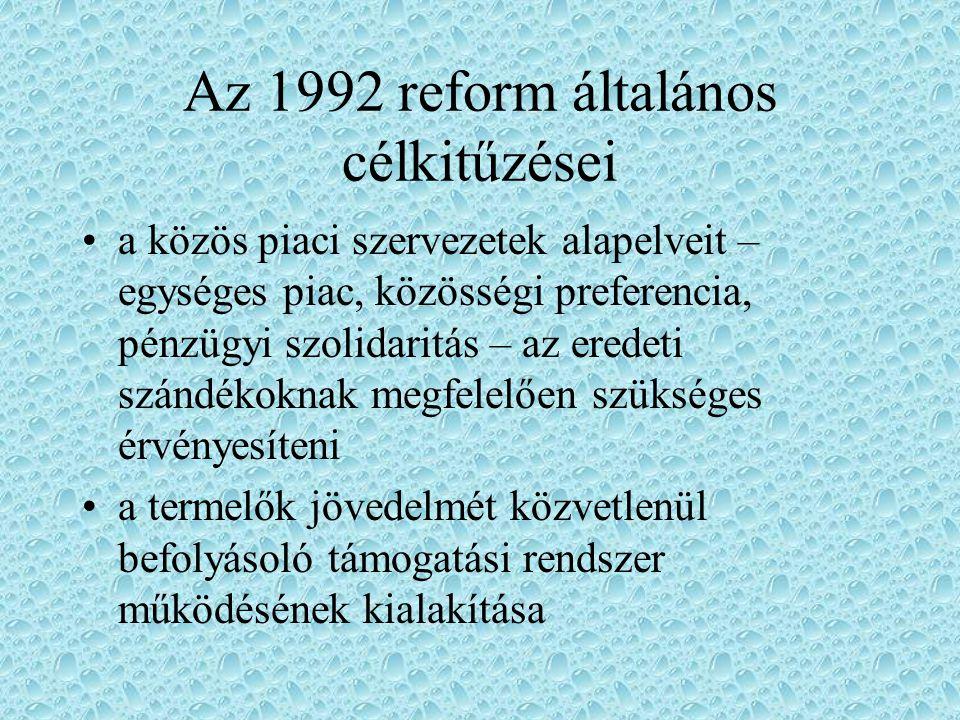 Az 1992 reform általános célkitűzései a mezőgazdasági termelés ellenőrzése a piaci egyensúly megteremtése céljából a közös piaci szervezeteknek ösztönözniük kell a szükséges külterjesítést (extenzifikálást) a Közösségnek vállalnia kell a nemzetközi agrárkereskedelemben rá háruló felelősséget (mint e termékek legnagyobb importőre és második legnagyobb exportőre a világon)