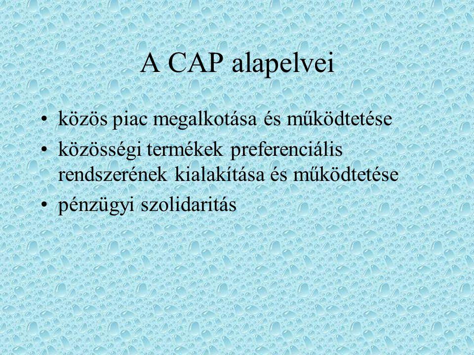 A CAP eredeti céljai mezőgazdasági termelékenység növelése méltányos életszínvonal biztosítása a mezőgazdasági dolgozóknak agrárpiacok stabilizálás ellátás biztosítása kiegyensúlyozott termelői és fogyasztói árak részvétel a világkereskedelemben