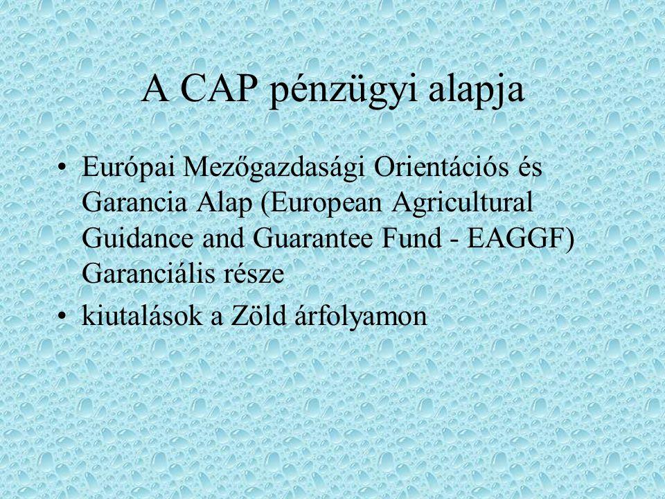 A CAP alapelvei közös piac megalkotása és működtetése közösségi termékek preferenciális rendszerének kialakítása és működtetése pénzügyi szolidaritás
