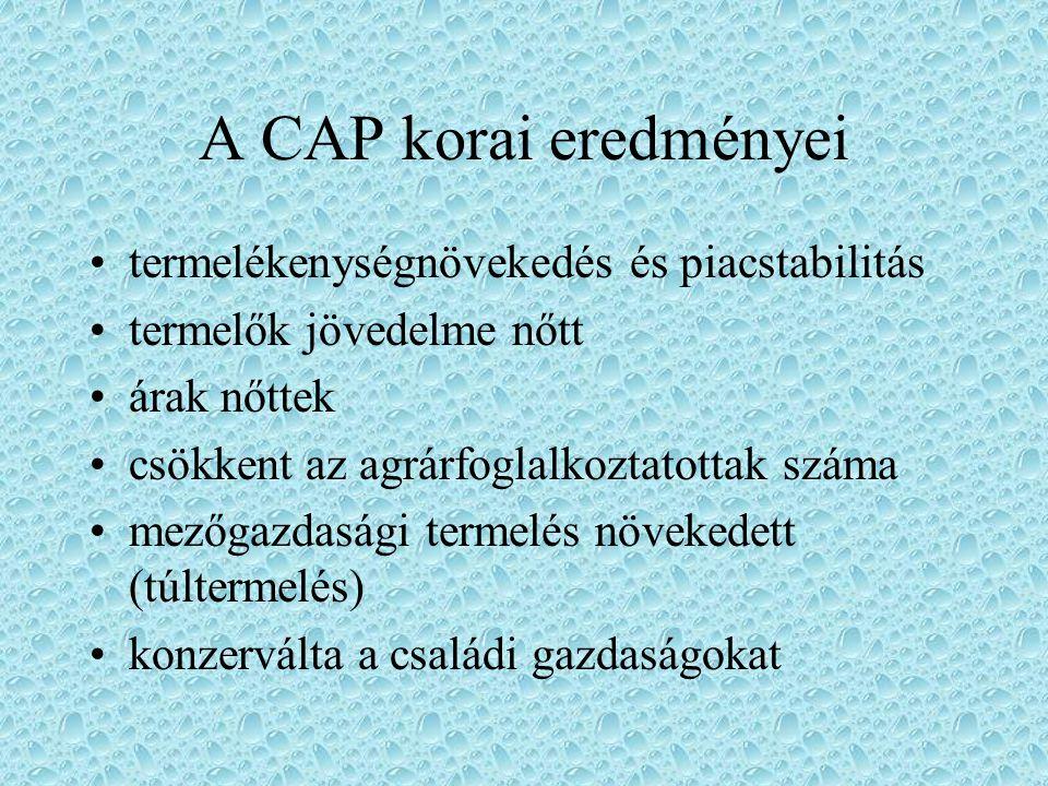 A CAP eszközei vámok (és korábban lefölözések) behozatali mennyiségi kvóták termelési kvóták felvásárlási garantált ár kiviteli támogatások