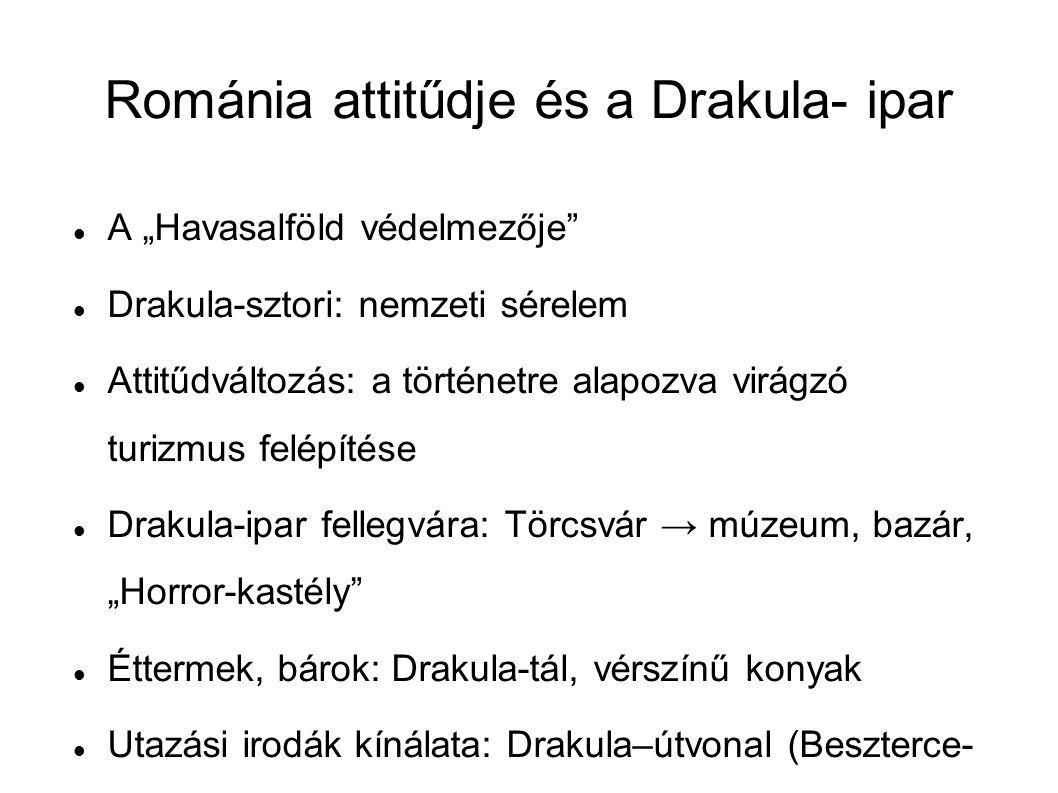 """Drakula-túra 48-an vennének részt rajta → 73% Ártól függően venne részt: 7 Tartalomtól függően: 5 RÉSZT VENNE, MERT:NEM VENNE RÉSZT, MERT: Érdekes, klassz, vicces ötlet10Fenntartások (idétlen kosztümös túra, szuvenírekkel) 4 Tanulságos, hasznos3Nem szeretik a szervezett túrákat3 Románok véleményének megismerése 3Gonosz """"jelenléte 1 Eredeti helyszínek megismerése2 Drakula Park 37-en ellátogatnának → 56% Ártól és minőségtől függ: 3 Romániában töltött idő függvénye: 1 MEGLÁTOGATNÁ, MERT:NEM MENNE EL, MERT: Jó szórakozás lenne, szeretik az effajta parkokat 7Tartanak a túlságosan turisztikai, idétlen megjelenéstől 6 Valódi történelem és kultúra érdekelné, vidám keretek közt 3Nem szeretik az effajta szórakozási lehetőségeket 3 Betekintést enged az igazi Vlad Tepes életébe 1Nem tudna nagy élményt nyújtani1 Légkör, misztikum1Elég volt meglátogatni a brassói kastélyt 1"""